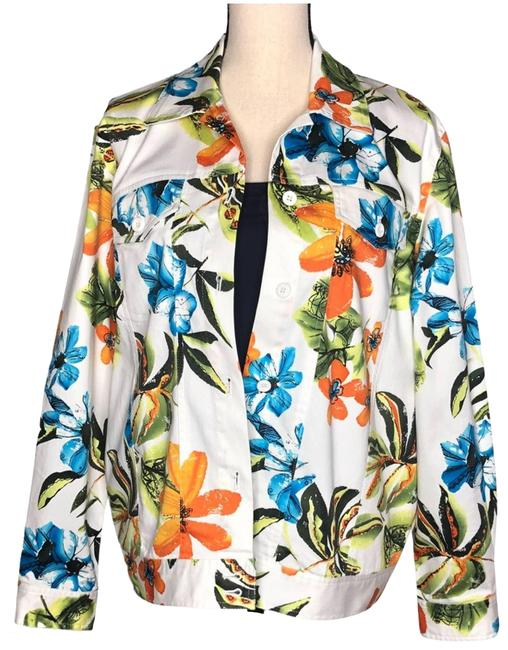 Item - White Bright Floral Summer Jacket Size 8 (M)