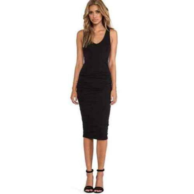 Item - Black Ruched Sleeveless Bodycon Midi Mid-length Short Casual Dress Size 2 (XS)
