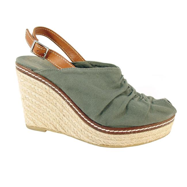 Item - Army Green Sundance Catalog Canvas Slingback Peep Toe Espadrilles Wedges Size EU 39 (Approx. US 9) Regular (M, B)