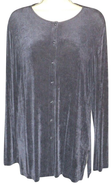 Item - Dark Purple Snapped Front Closure Loong Sleeves Stretchy Blazer Size 8 (M)