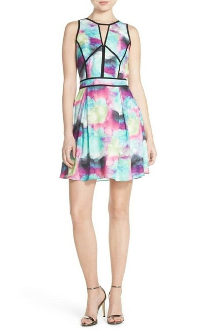 Item - Multicolor Water Color Abstract Fit Flare Mini Short Casual Dress Size 8 (M)