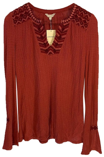 Item - Red Embroidered Long Sleeve Blouse Size 6 (S)