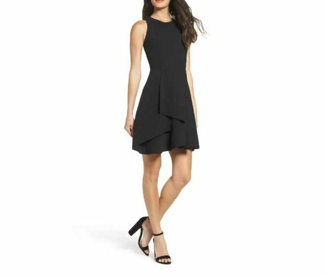 Item - Black Fit Flare Layered Short Casual Dress Size 12 (L)