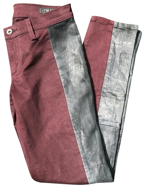 Item - Wine Charcoal Leather Skinny Jeans Size 2 (XS, 26)