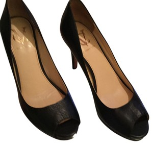CV Signature Italian Peep Black Leather CV Signature Open Toe Pumps