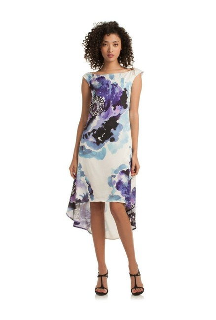 Item - White Blue Kindered Purple Floral High Mid-length Short Casual Dress Size 6 (S)