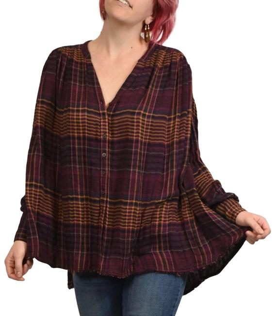 Item - Come On Over Plaid Oversized Button Up Button-down Top Size 4 (S)