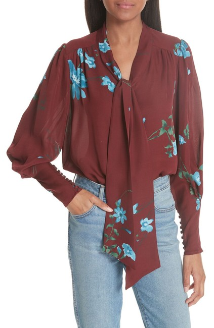 Item - Multicolor Angeletta Tie Neck Silk with Floral Print Medium Blouse Size 10 (M)