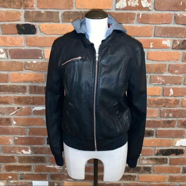 Item - Black Faux Leather Sweatshirt Hooded Jacket Size 2 (XS)