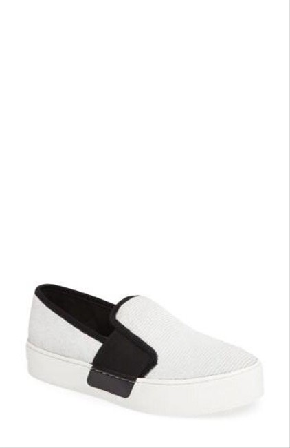 Item - White New and Black Slip On Leather Sneakers Size EU 37 (Approx. US 7) Regular (M, B)