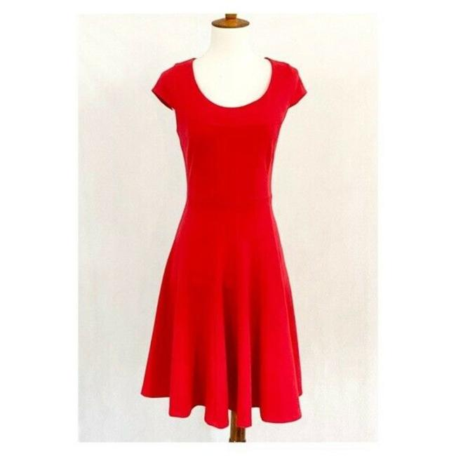 Item - Red Seamed Fit & Flare Work/Office Dress Size 4 (S)