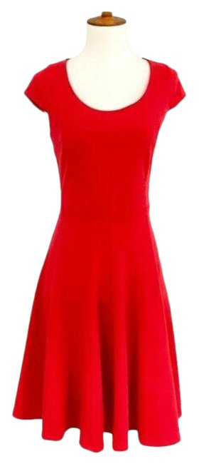 Calvin Klein Red Seamed Fit & Flare Work/Office Dress Size 4 (S) Calvin Klein Red Seamed Fit & Flare Work/Office Dress Size 4 (S) Image 1