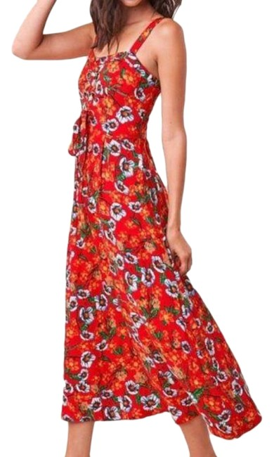 Item - Red Tropical Floral Lace Up Front Mid-length Casual Maxi Dress Size 12 (L)