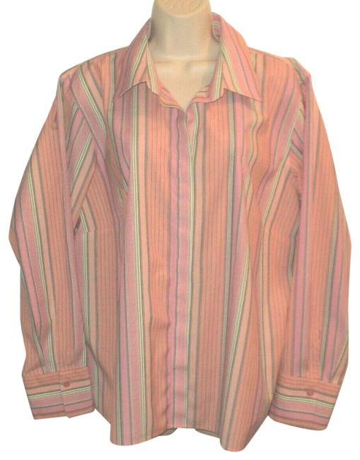 Item - Pink Gray Green Striped Hidden Buttons Long Sleeves Wrinkle Resistant Stretchy Blouse Size 22 (Plus 2x)