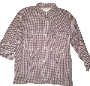 Columbia Button Down Shirt maroon And White Gingham