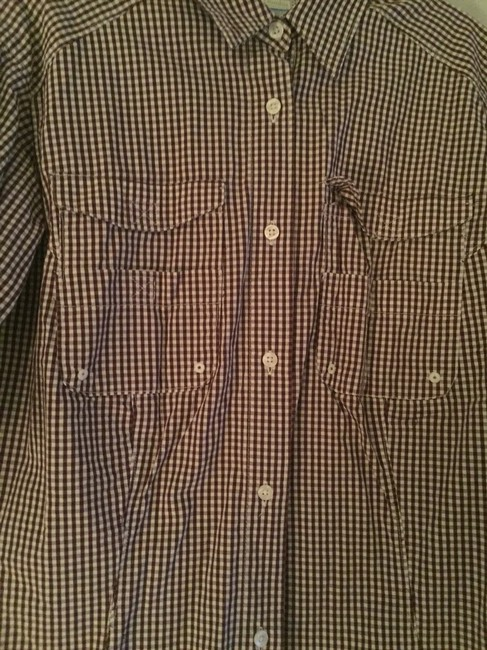 Columbia Sportswear Company Button Down Shirt maroon And White Gingham