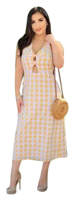 Item - Yellow White Gingham Midi Front Mid-length Short Casual Dress Size 8 (M)
