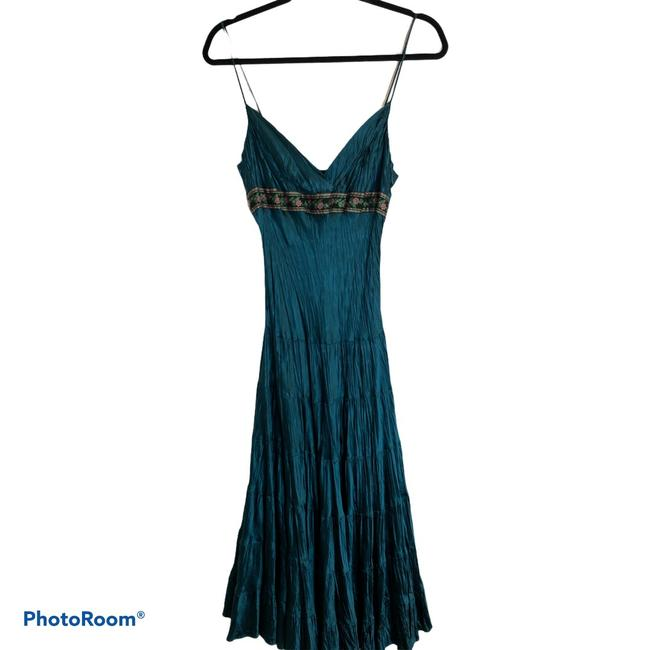 Item - Green Silk Midi Tiered Mid-length Night Out Dress Size 6 (S)