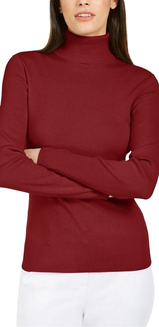 Item - Red Soft Stretchy Turtleneck Tee Shirt Size 12 (L)