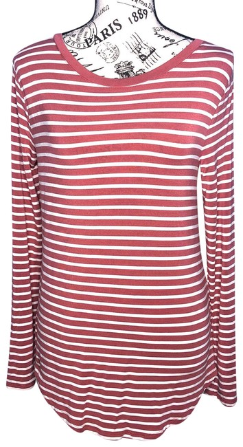 Item - Red Luxe Striped Long Sleeve - Small Tee Shirt Size 6 (S)
