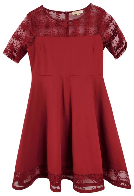 Item - Lace Maroon Fit & Flare Mini Cocktail Dress Size 8 (M)