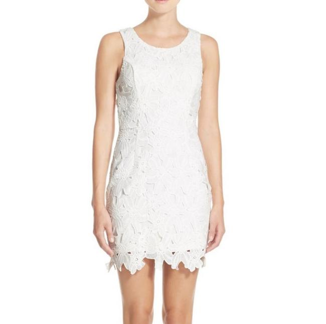 Item - White The Label Textured Floral Body-con Short Casual Dress Size 0 (XS)