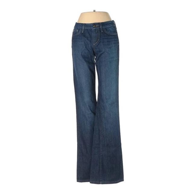 Item - Blue Dark Rinse Muse High Flare Leg Wash Boot Cut Jeans Size 24 (0, XS)