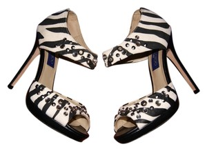 Jimmy Choo X H&m Animal Embellished Zebra Print Black and White Pumps