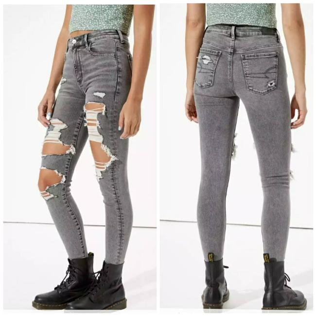 Item - Gray Distressed Short New Ae Ne(X)t Level Super High Waisted Skinny Jeans Size 22 (Plus 2x)