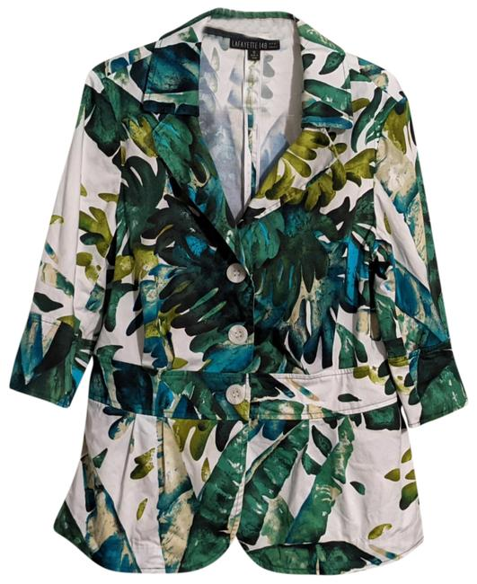 Item - Green Multi Tropical Print Button-front Jacket Size 12 (L)