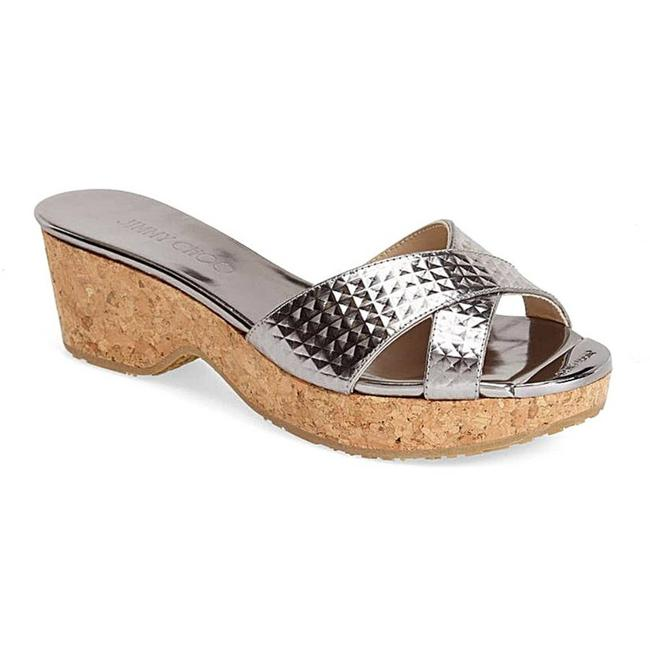Item - Silver Steel Panna Metallic Wedge Slide Sandals Size EU 39.5 (Approx. US 9.5) Regular (M, B)