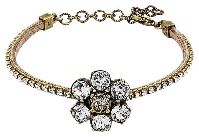Item - Gold Marmont Gg Crystal and Leather Bracelet