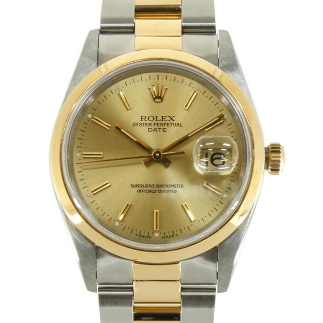 Item - Gold / Silver Oyster Perpetual No. X Date 15203 Men's Stainless Steel K18 Yellow Watch