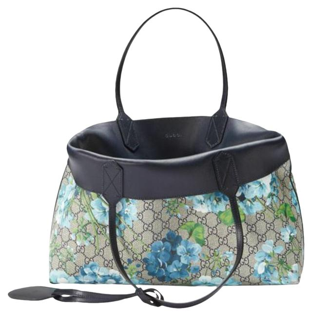 Item - Gg Blooms Reversible Tote Midnight Blue/Flower Canvas/Leather Weekend/Travel Bag