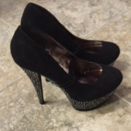Forever 21 Black With Silver Rhinestones Platforms