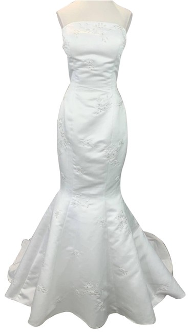 Item - White Mermaid Wedding Gown Strapless New Beaded Long Formal Dress Size 12 (L)