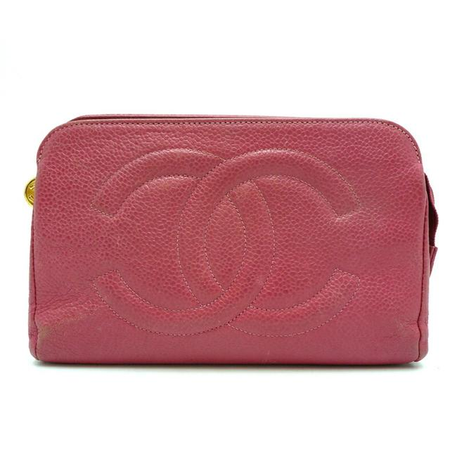 Item - Makeup Pouch Ladies Caviar Skin Pink Clutch