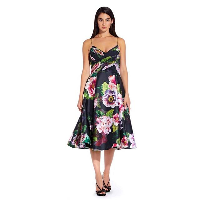 Item - Black Floral Midi Ruched Bodice Cocktail Dress Size 2 (XS)