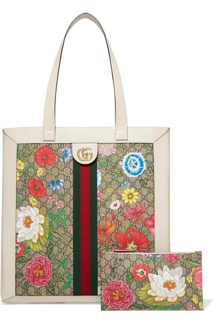 Item - Dionysus Bag New Floral Summer Leather Shopper Purse White Multi Gg Supreme Canvas Tote