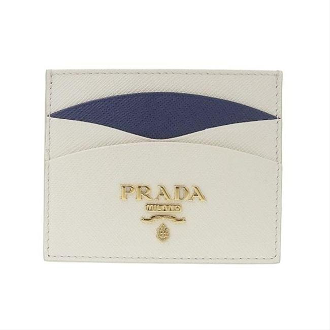 Item - Navy / White Saffiano Leather Card Case X 1mc025 Wallet