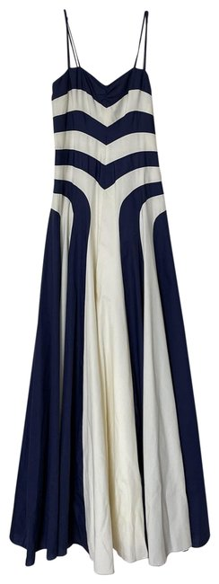 Item - Navy and Ivory 121cl011673 Long Formal Dress Size 4 (S)