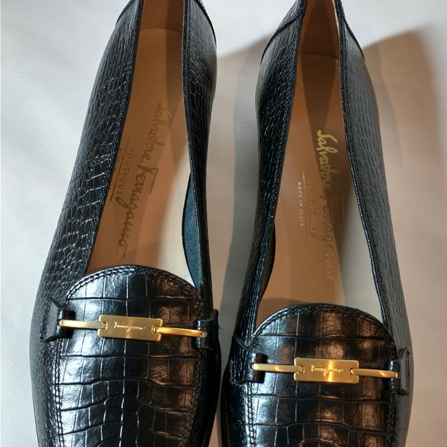 Item - Black Embossed Crocodile Flats Size US 4 Narrow (Aa, N)