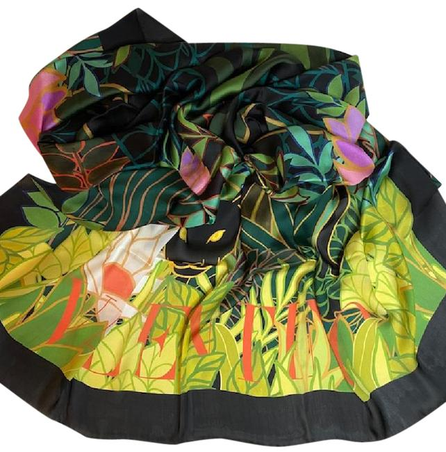 Item - Multi-color Panther Floral Print Sik Chiffon Scarf/Wrap