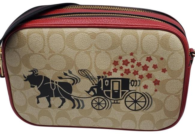 Item - Camera Signature Ox and Carriage Jes Light Khaki Multi Leather Cross Body Bag