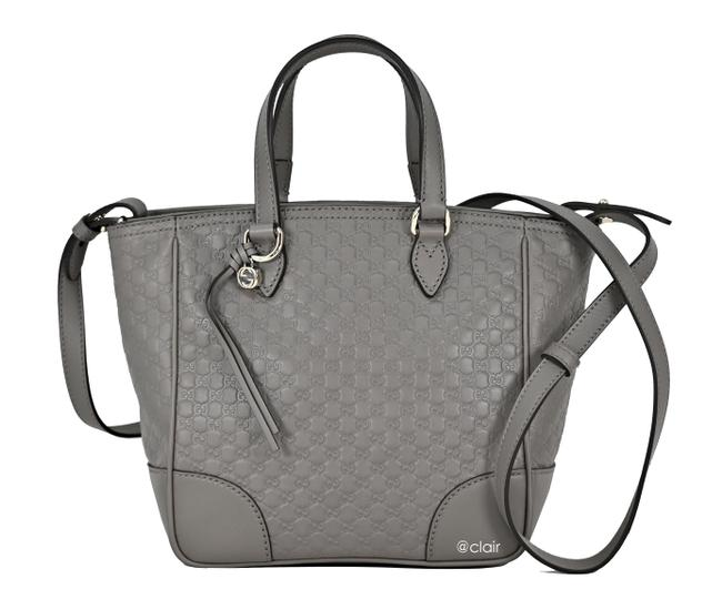 Item - 449241 Microguccissima Soft Grey Leather and Gg Leather Cross Body Bag