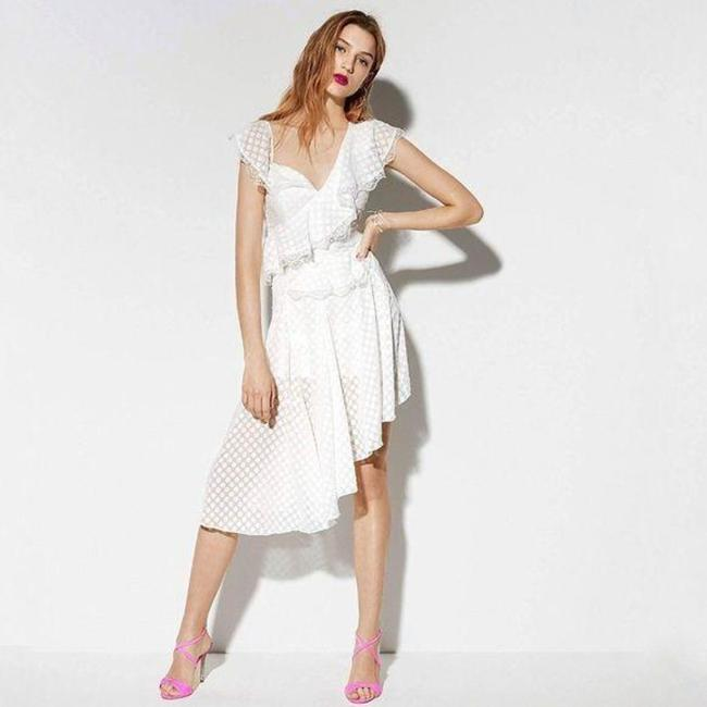Item - White Cream One Shoulder Ruffle Polka Dot In Ivory Mid-length Cocktail Dress Size 8 (M)