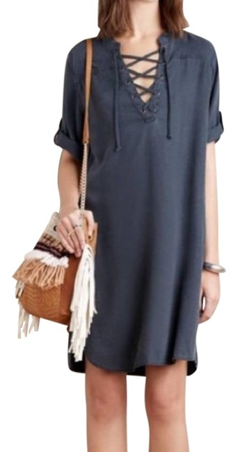Item - Blue Cloth & Stone Xander Chambray Lace-up Short Casual Dress Size 12 (L)