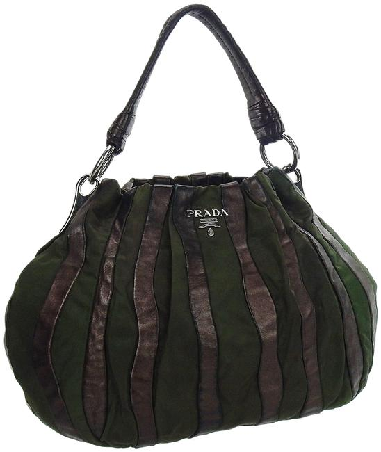 Item - Hobo Striped Tote Green and Brown Tessuto Nylon Leather Shoulder Bag