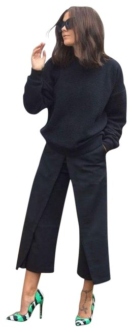 Item - Navy City Layered Stretch Cotton-blend Twill Culottes Pants Size 6 (S, 28)