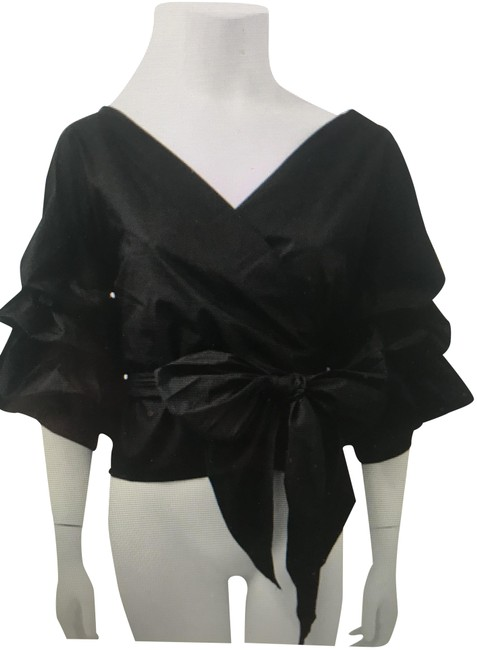 Item - Black Polyester with Tiered Ruffle Sleeves Blouse Size 10 (M)